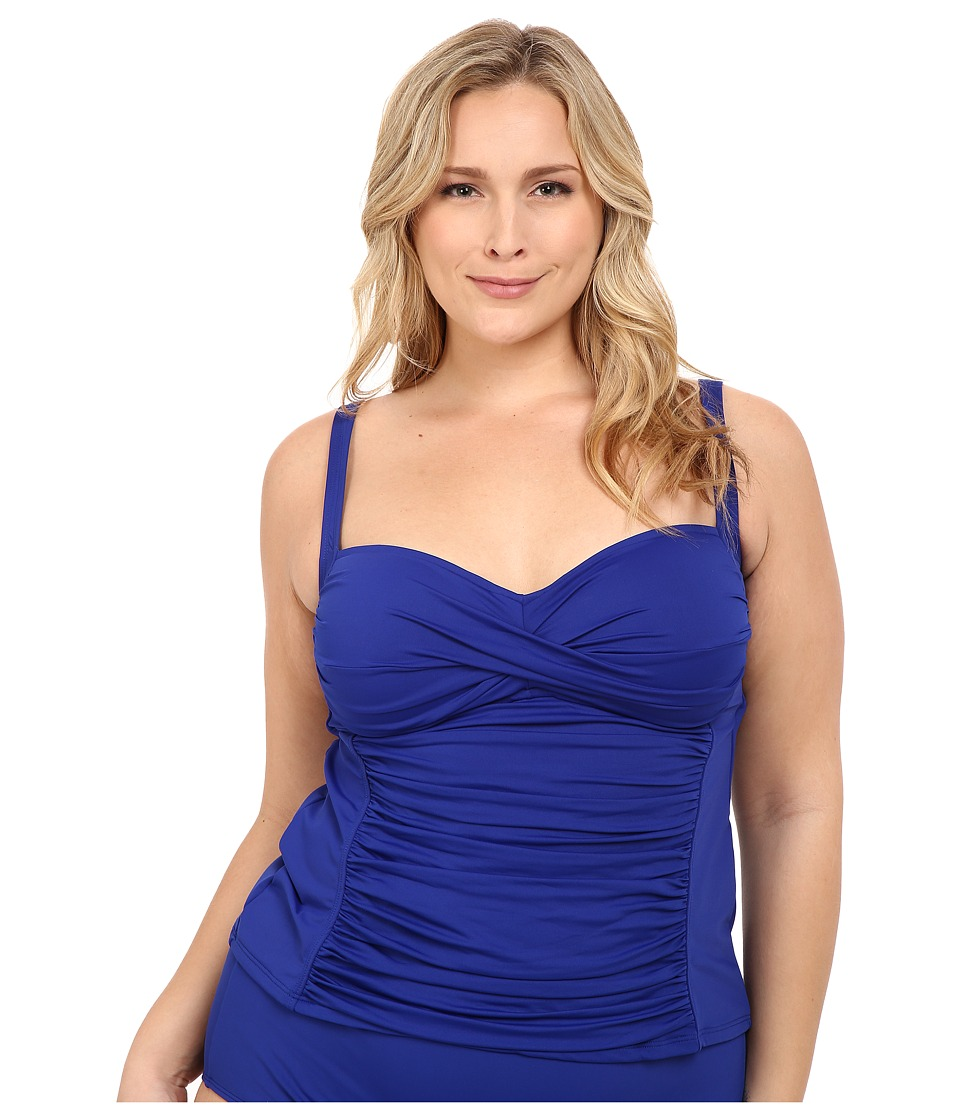 La Blanca - Plus Size Island Goddess Over the Shoulder Tankini (Blueberry) Women's Swimwear