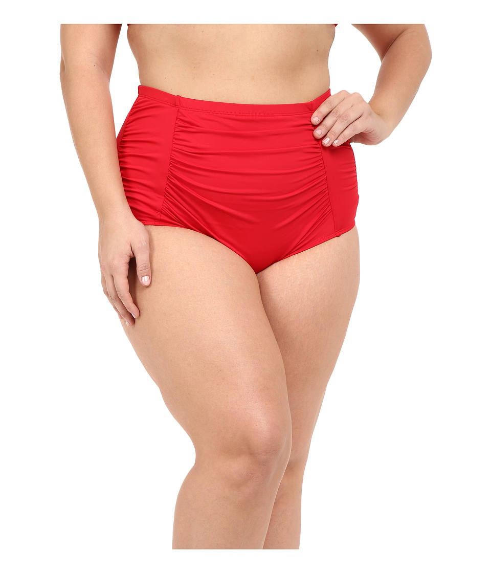 La Blanca - Plus Size Island Solid Ultra Rise Hipster (Lipstick) Women's Swimwear