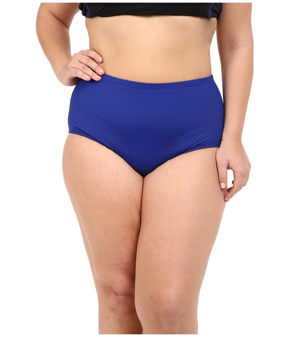 La Blanca Plus Size Island Goddess Solid Hipster (Blueberry) Women