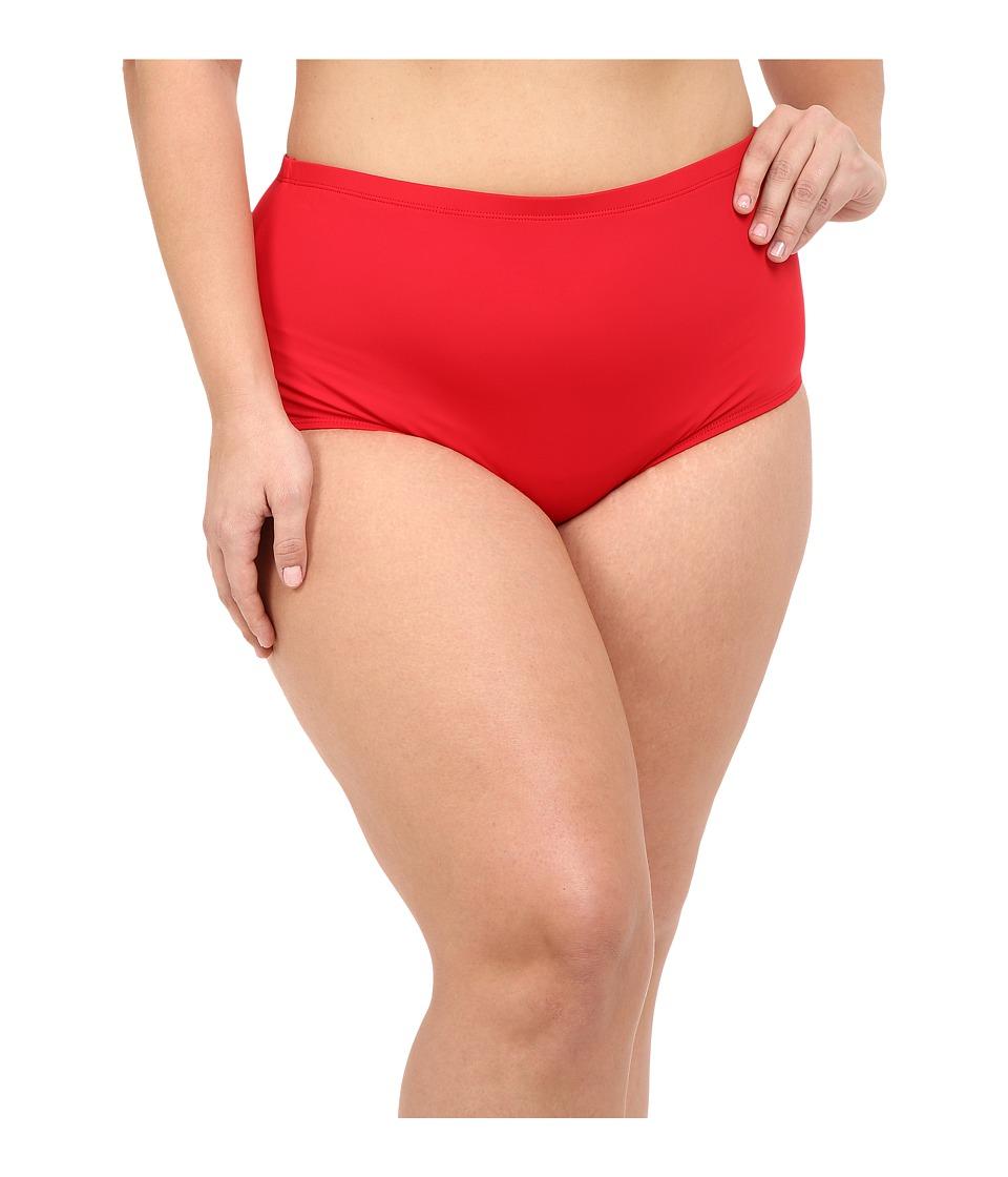La Blanca - Plus Size Island Goddess Solid Hipster (Lipstick) Women's Swimwear plus size,  plus size fashion plus size appare