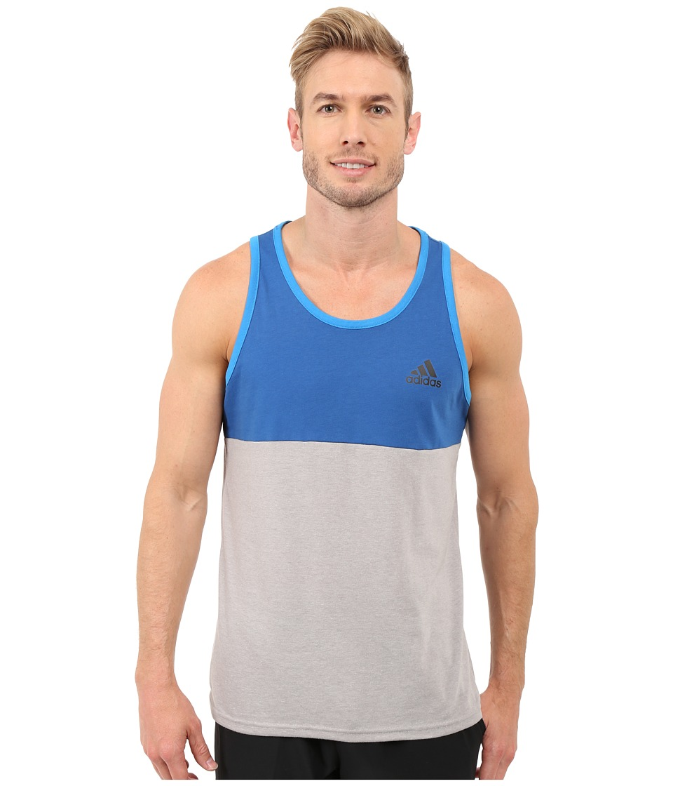 adidas - Go-To Performance Blocked Tank Top (Medium Grey Heather/Equipment Blue/Shock Blue) Men's Sleeveless