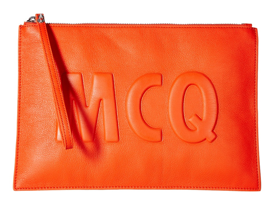 McQ - Smooth Leather Pouch (Coral Red) Travel Pouch