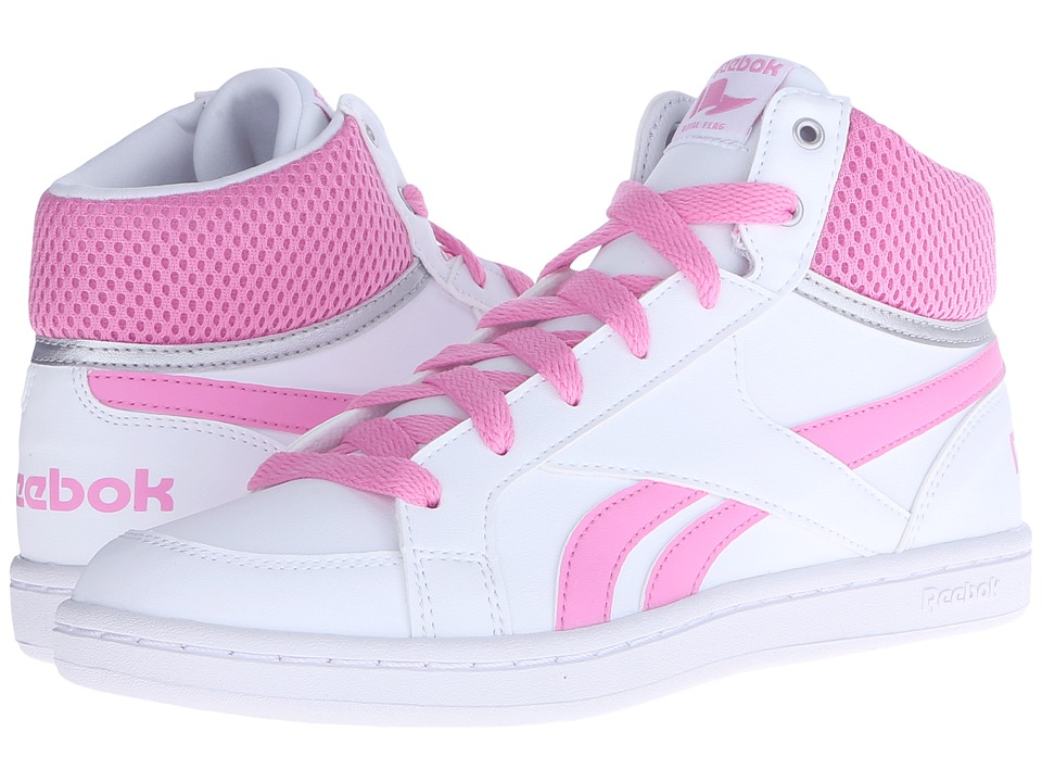 Reebok Kids - Reebok Royal Prime Mid (Little Kid/Big Kid) (White/Icono Pink/Silver) Girls Shoes