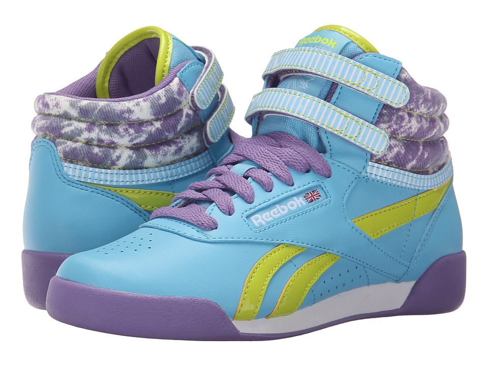 Reebok Kids - Freestyle Hi (Big Kid) (Blue Splash/Smoky Violet/Semi Solar Yellow/Sunwashed) Girl's Shoes