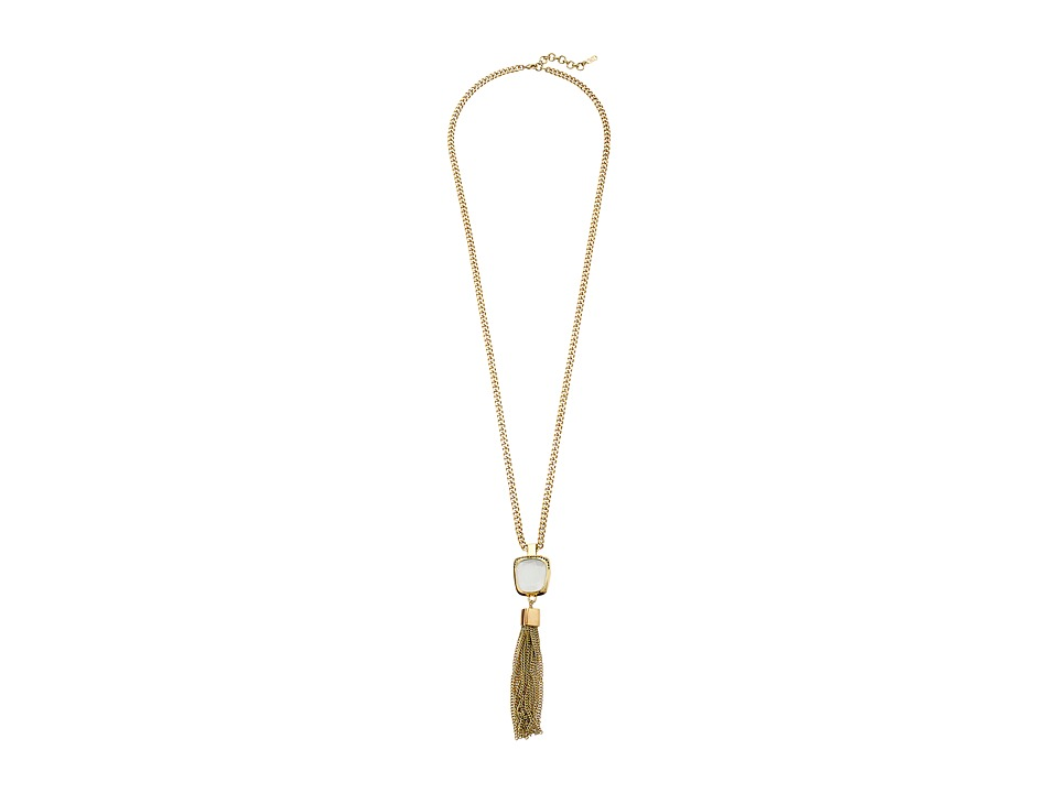 Cole Haan - Drama Tassel Y Necklace (Gold/Hematite Pave/Grey Tigers Eye) Necklace