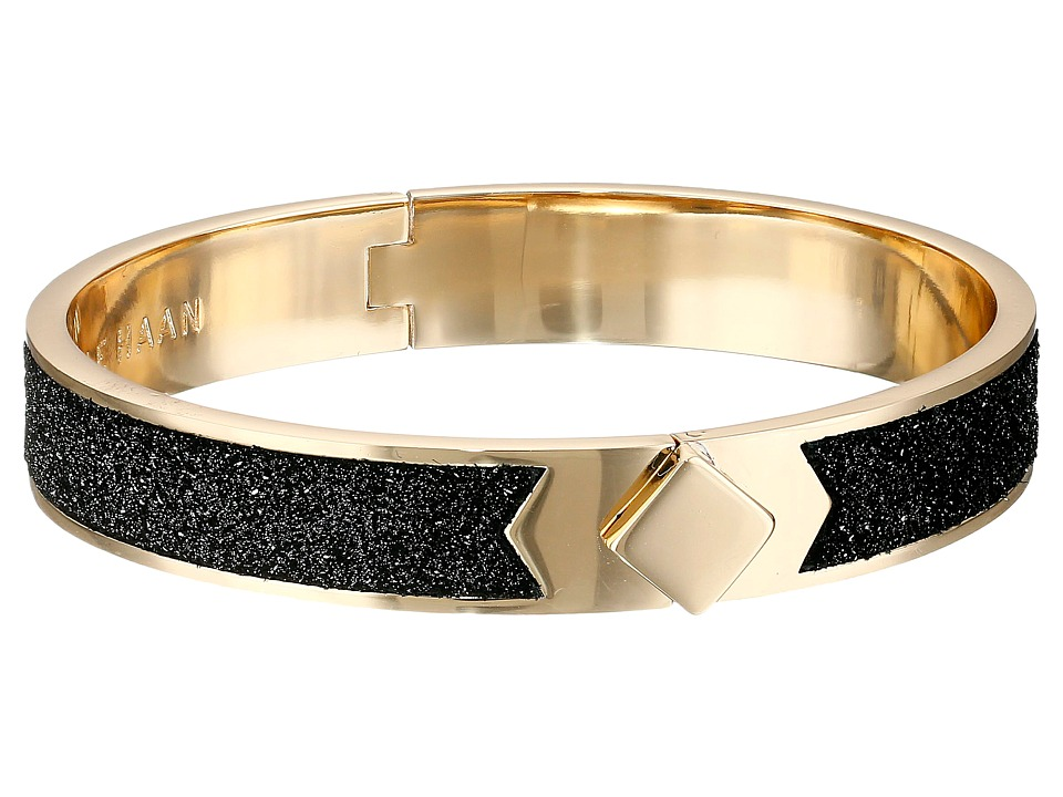 Cole Haan - Thin Hinged Leather Inlay Bangle (Gold/Distressed Pewter Metallic) Bracelet