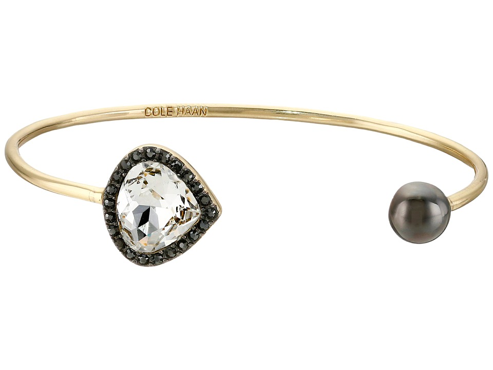 Cole Haan - Teardrop and Ball Open Cuff (Gold/Crystal/Hematite) Bracelet