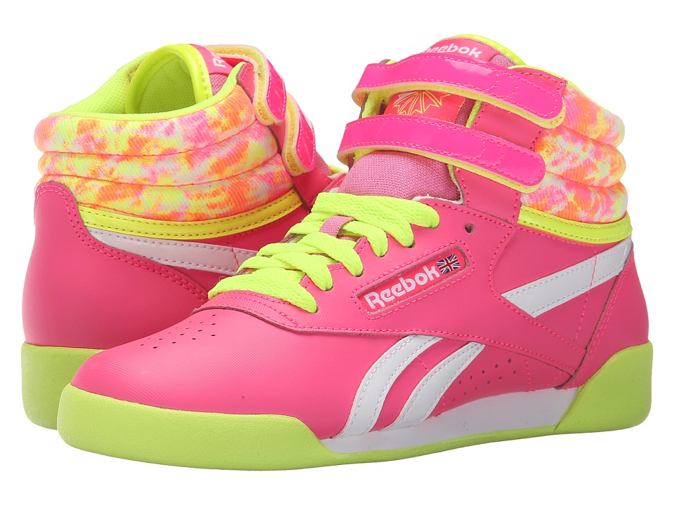 Reebok Kids - Freestyle Hi (Little Kid) (Solar Pink/Solar Yellow/White/Sunwashed) Girl's Shoes