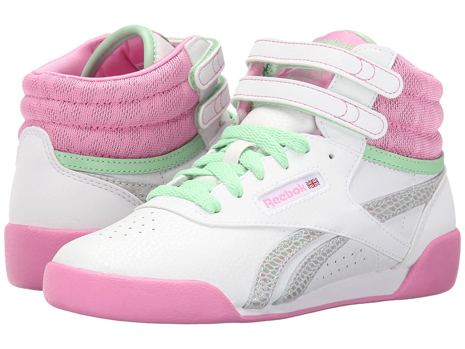 Reebok Kids - Freestyle Hi (Little Kid) (White/Icono Pink/Seafoam Green/Exotic) Girl's Shoes