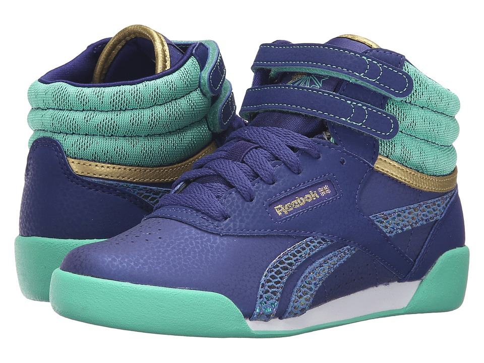 Reebok Kids - Freestyle Hi (Little Kid) (Night Beacon/Exotic Teal/White/Gold) Girl's Shoes