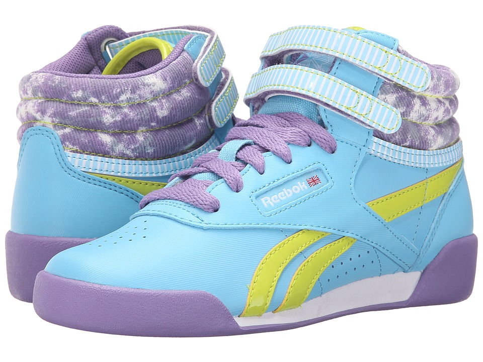Reebok Kids - Freestyle Hi (Little Kid) (Blue Splash/Smoky Violet/Semi Solar Yellow/Sunwashed) Girl's Shoes