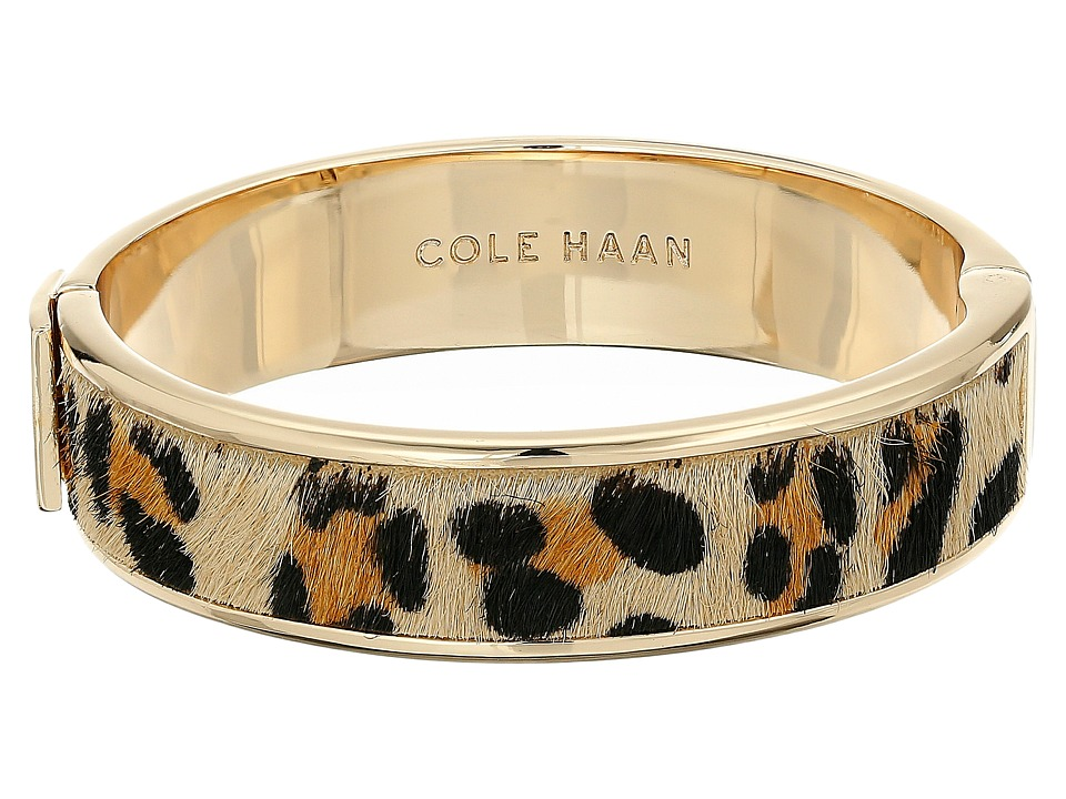 Cole Haan - Wide Hinged Leather Inlay Bangle (Gold/Micro Cheetah Pony Hair) Bracelet