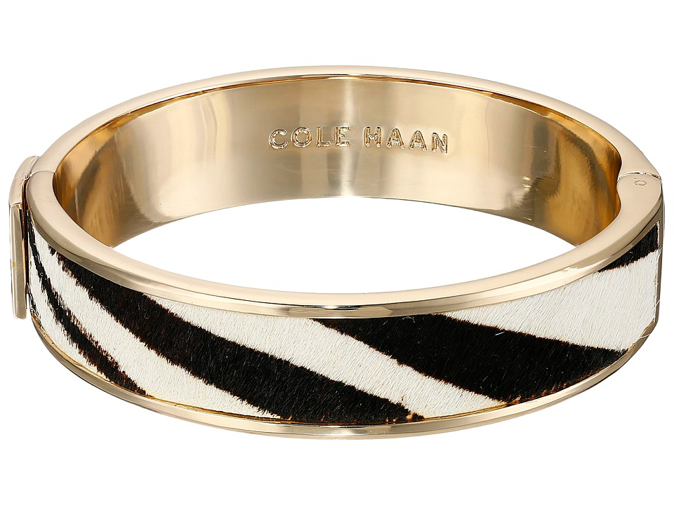 Cole Haan - Wide Hinged Leather Inlay Bangle (Gold/Zebra Pony Hair) Bracelet