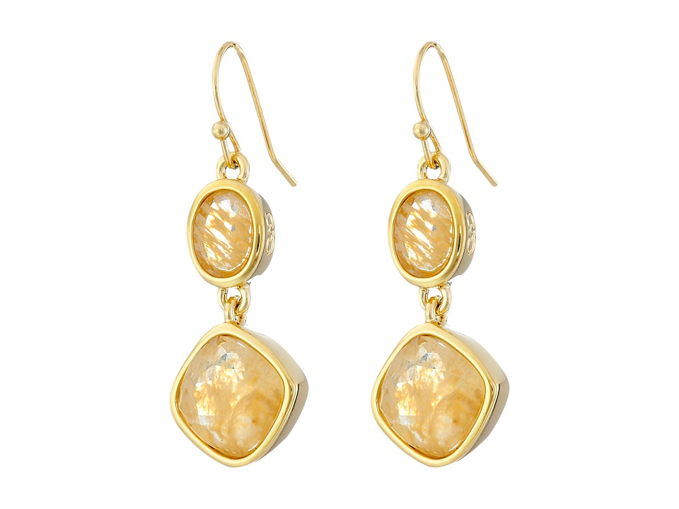 Cole Haan - Double Drop Stone Earrings (Gold/Gold Rutilated Glass/Metallic Gold/Mother-of-Pearl) Earring