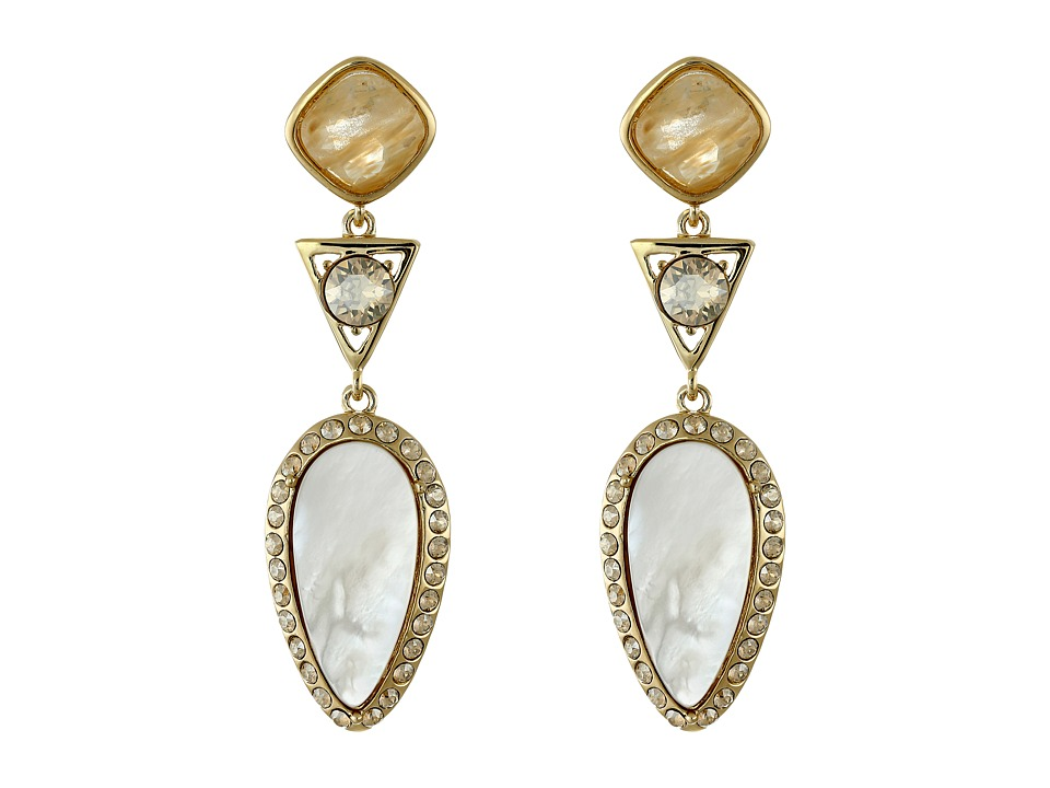 Cole Haan - Triple Drop Stone Drama Earrings (Gold/Gold Rutilated Glass/Metallic Gold/Mother-of-Pearl) Earring