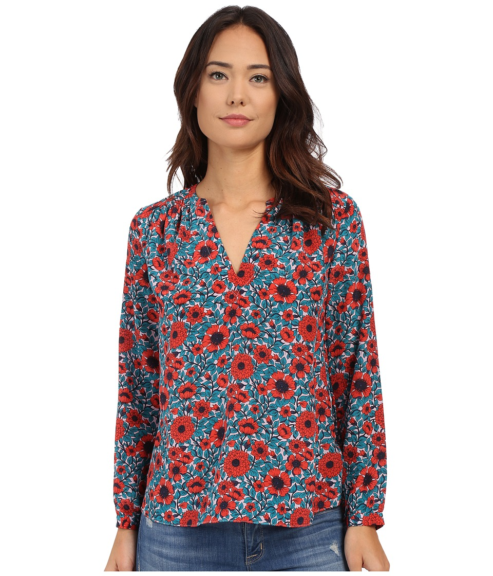 Rebecca Taylor - Long Sleeve Lindsay Floral V-Neck Top (Melon Pop) Women's Blouse
