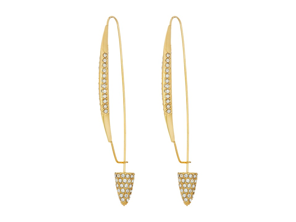 Cole Haan - Pave Triangle Pin Earrings (Gold/Crystal) Earring