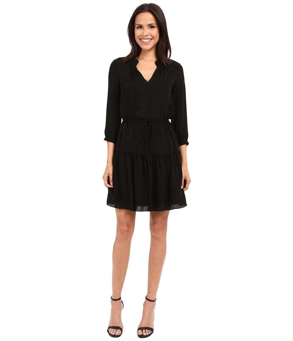 Rebecca Taylor - Long Sleeve Silk Double Georgette Dress (Black) Women's Dress