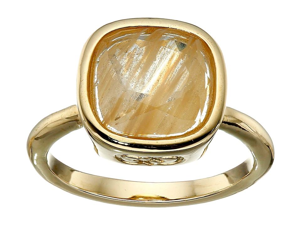 Cole Haan - Cushion Cut Ring (Gold/Gold Rutilated Glass) Ring