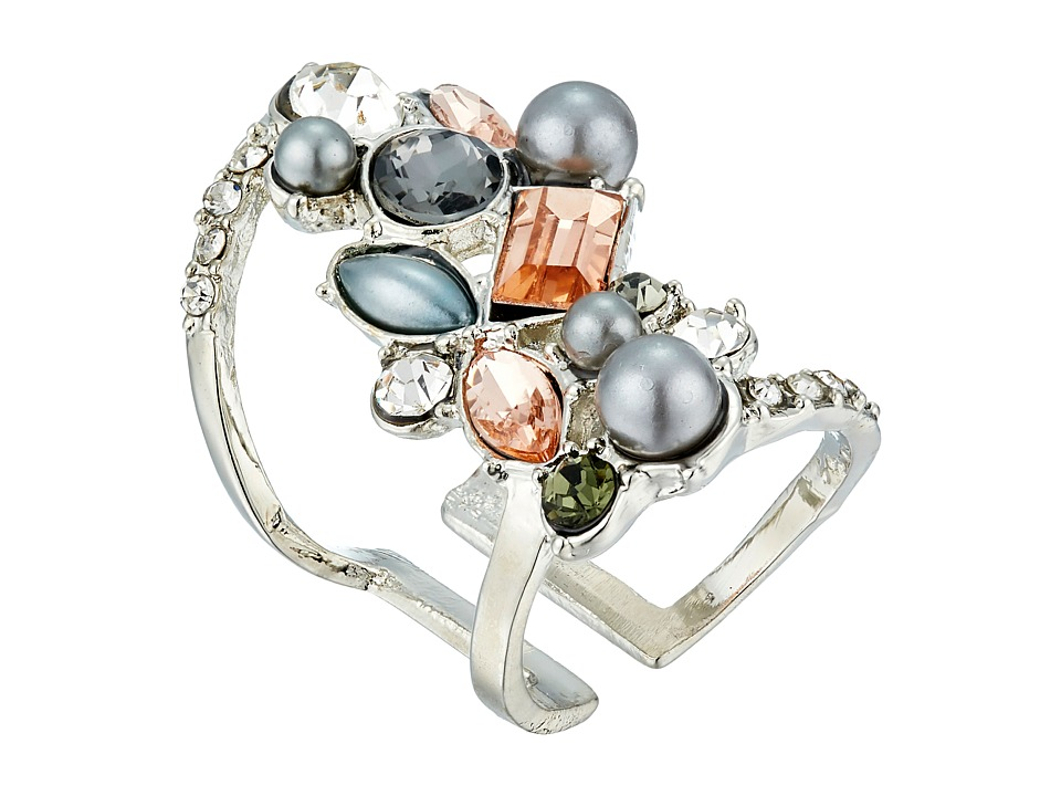 GUESS - Clustered Stone Knuckle Ring (Silver/Crystal/Peach 2) Ring