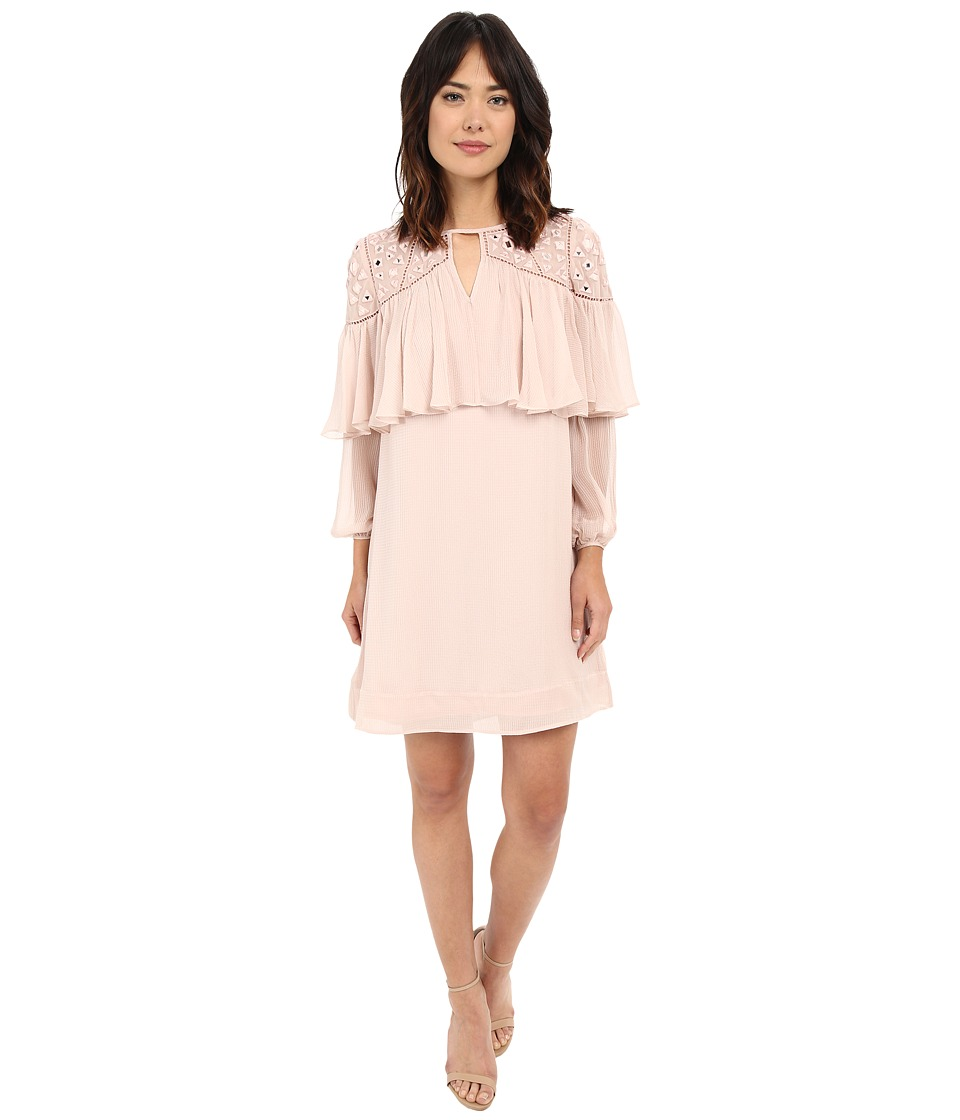 Rebecca Taylor - Long Sleeve Mirror Eyelet Dress (Cameo Pink) Women's Dress