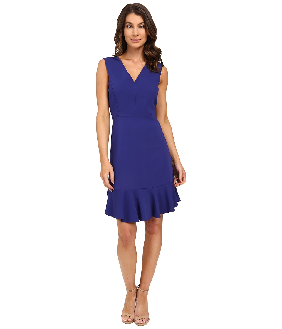 Rebecca Taylor - Sleeveless V-Neck Suiting Dress (Santorini Blue) Women's Dress