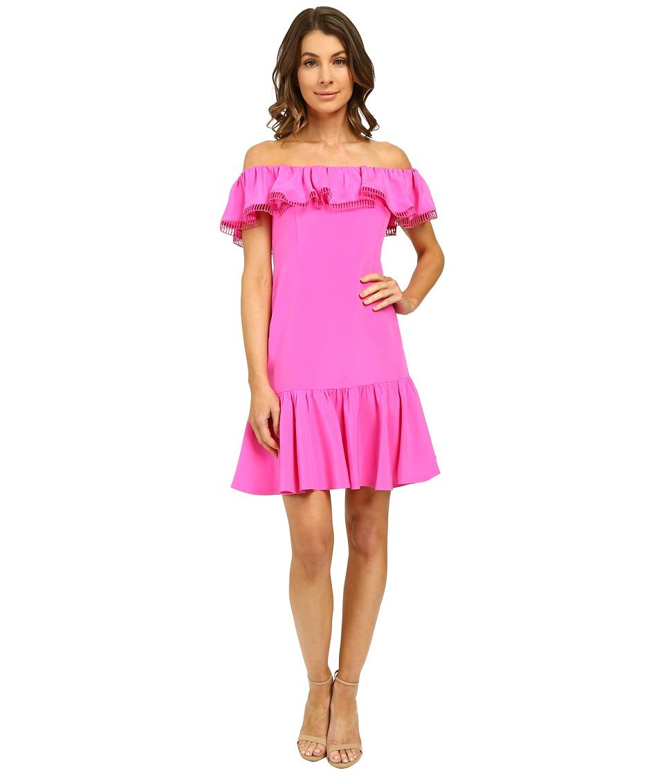 Rebecca Taylor - Off Shoulder Silk Dress (Fuchsia) Women's Dress