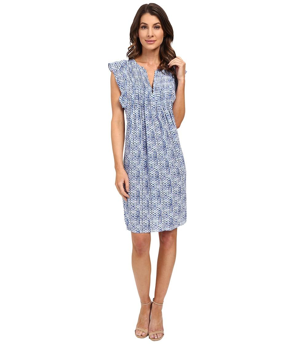 Rebecca Taylor Sleeveless Shibori Dress (Violet Teal) Women