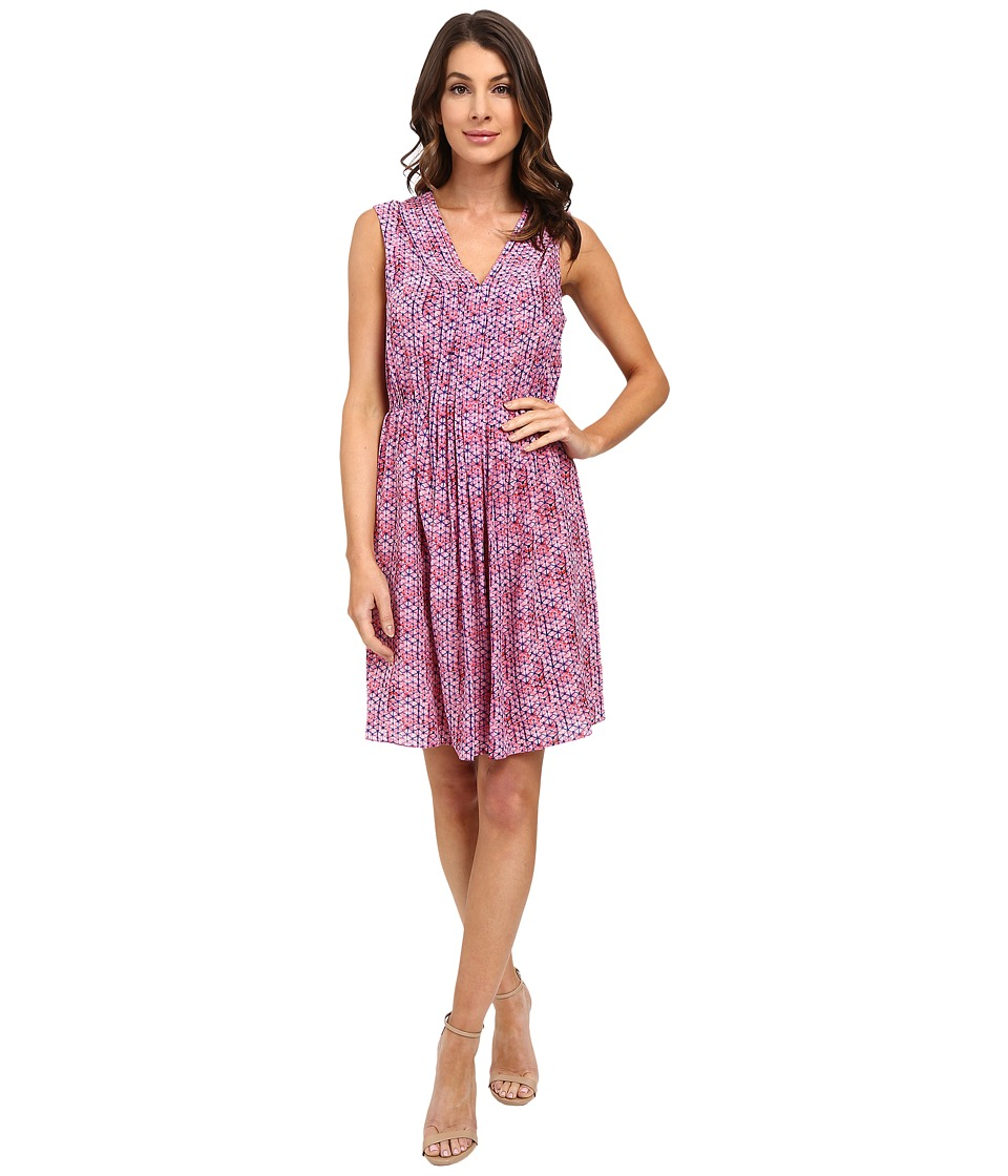 Rebecca Taylor - Sleeveless Shibori V-Neck Dress (Watermelon) Women's Dress