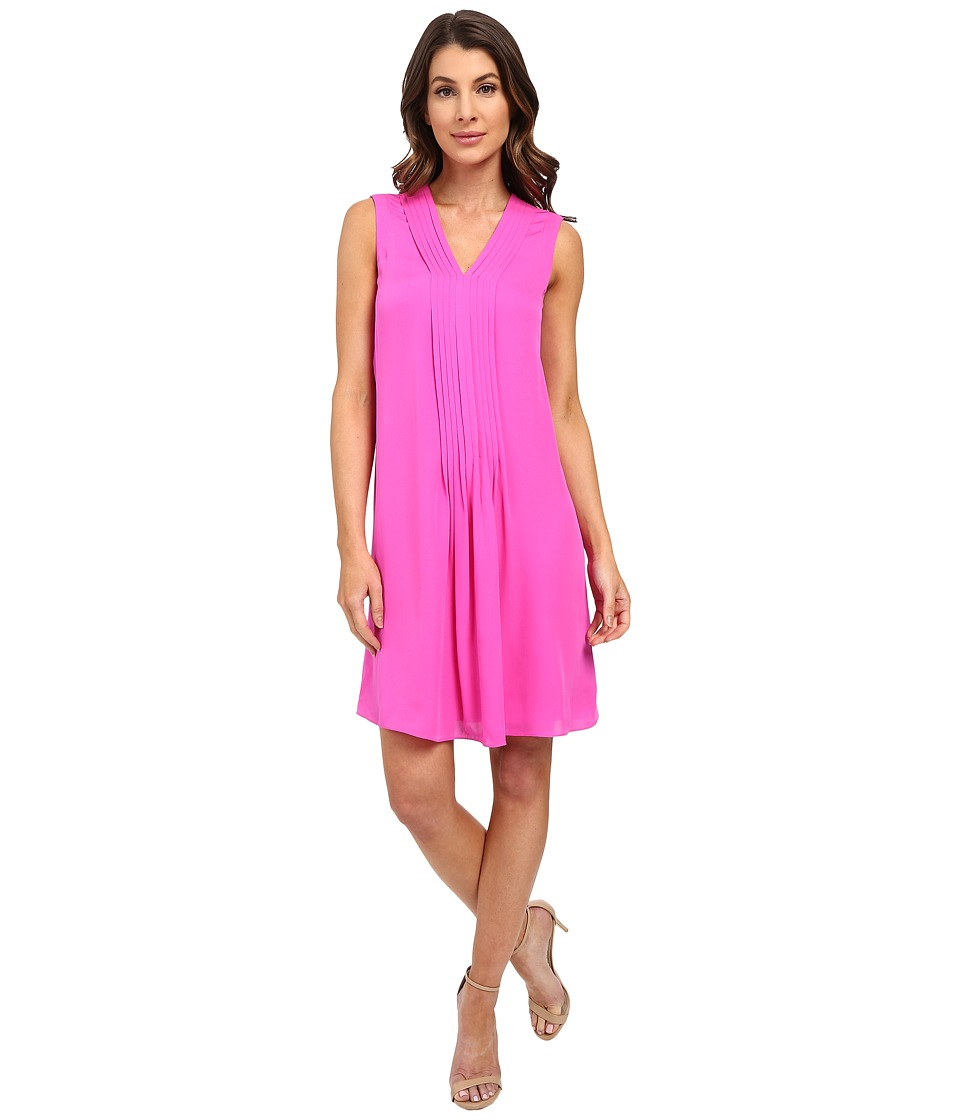 Rebecca Taylor Sleeveless Silk Double Georgette V-Neck Dress (Fuchsia) Women