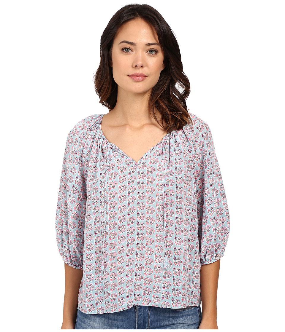 Rebecca Taylor - Short Sleeve Amanda Print Top (Mermaid/Teal) Women's Blouse