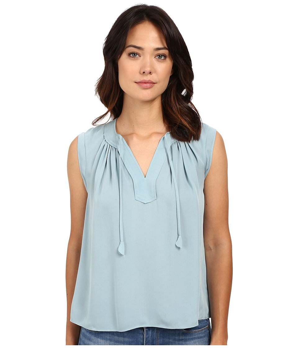 Rebecca Taylor - Sleeveless Silk Double Georgette Tie Top (Soft Mint) Women's Blouse