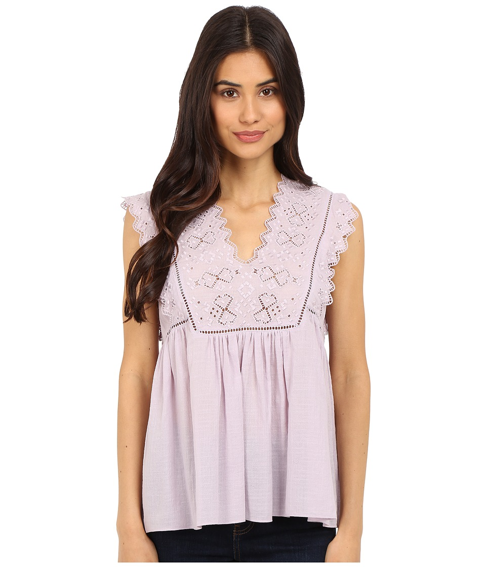 Rebecca Taylor - Sleeveless Stitched Square Embroidery Top (Lilac) Women's Blouse