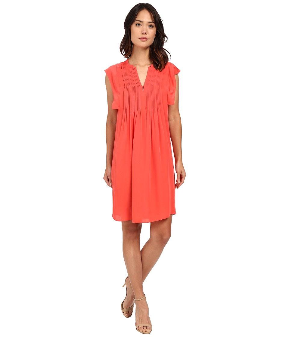 Rebecca Taylor - Sleeveless Silk Double Georgette Dress (Tangerine Pink) Women's Dress