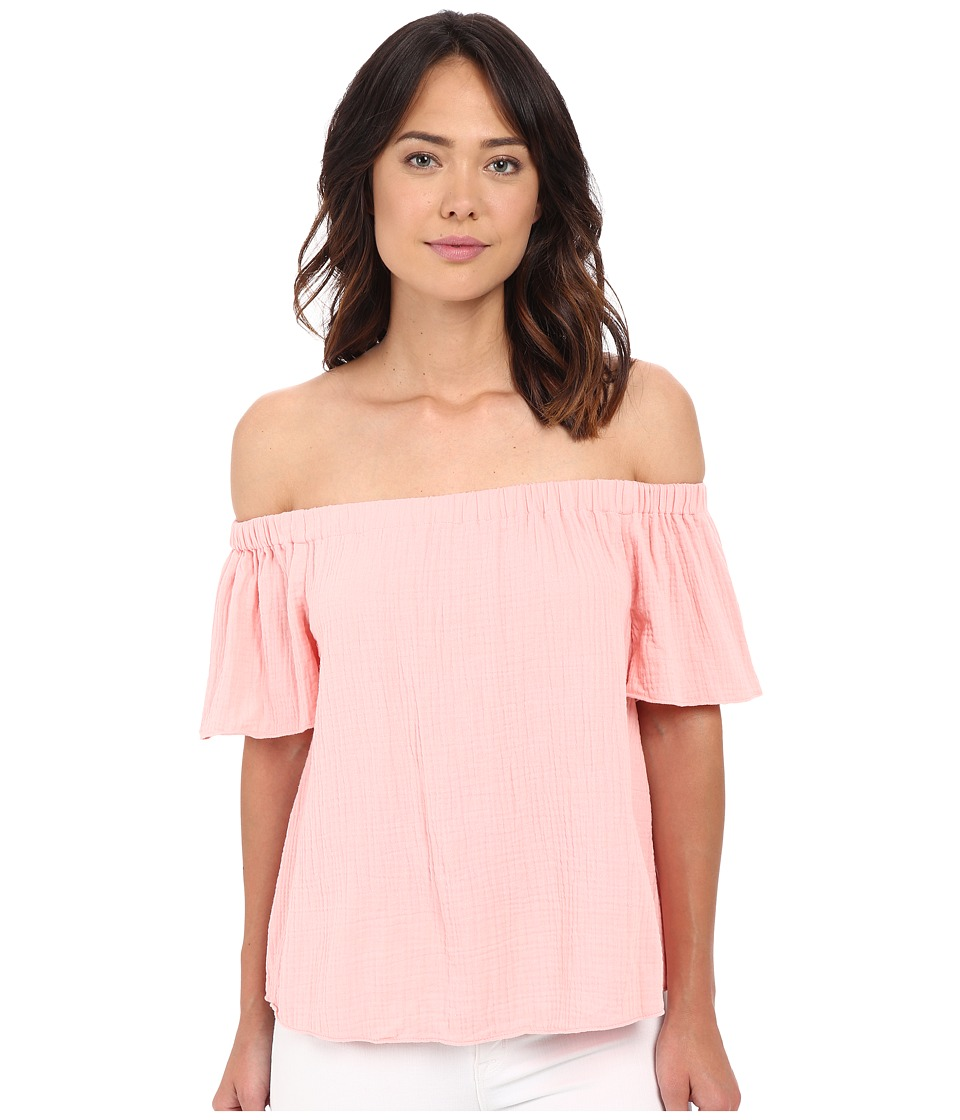 Rebecca Taylor - Off Shoulder Gauze Top (Malibu Peach) Women's Blouse