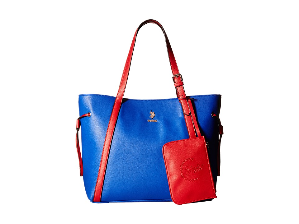 U.S. POLO ASSN. - Greenwich Color Block Mixed Media Tote (Navy/Red) Tote Handbags