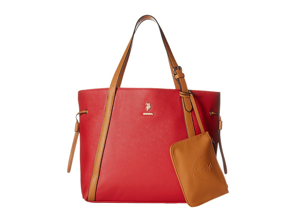 U.S. POLO ASSN. - Greenwich Color Block Mixed Media Tote (Red/Cognac) Tote Handbags