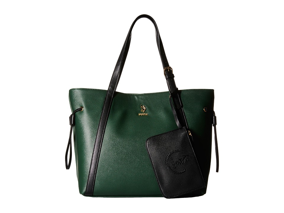 U.S. POLO ASSN. - Greenwich Color Block Mixed Media Tote (Hunter Green/Black) Tote Handbags