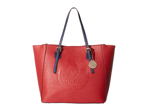 U.S. POLO ASSN. - Billy Signature Logo Embossed Tote (Red/Navy) Tote Handbags