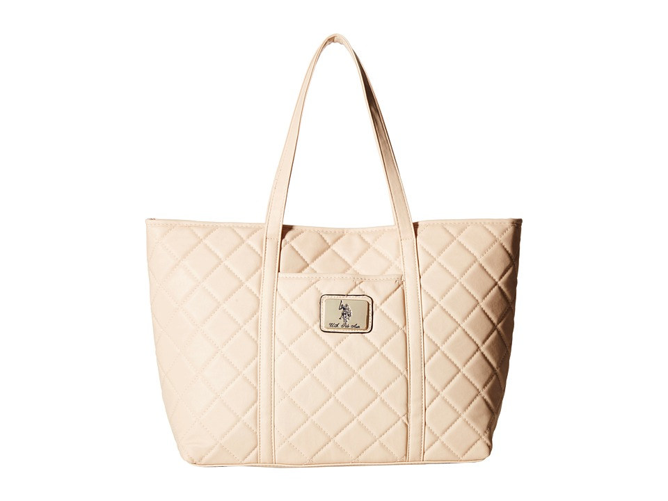 U.S. POLO ASSN. - Alex Quilted East/West Tote with Logo Patch (Beige) Tote Handbags