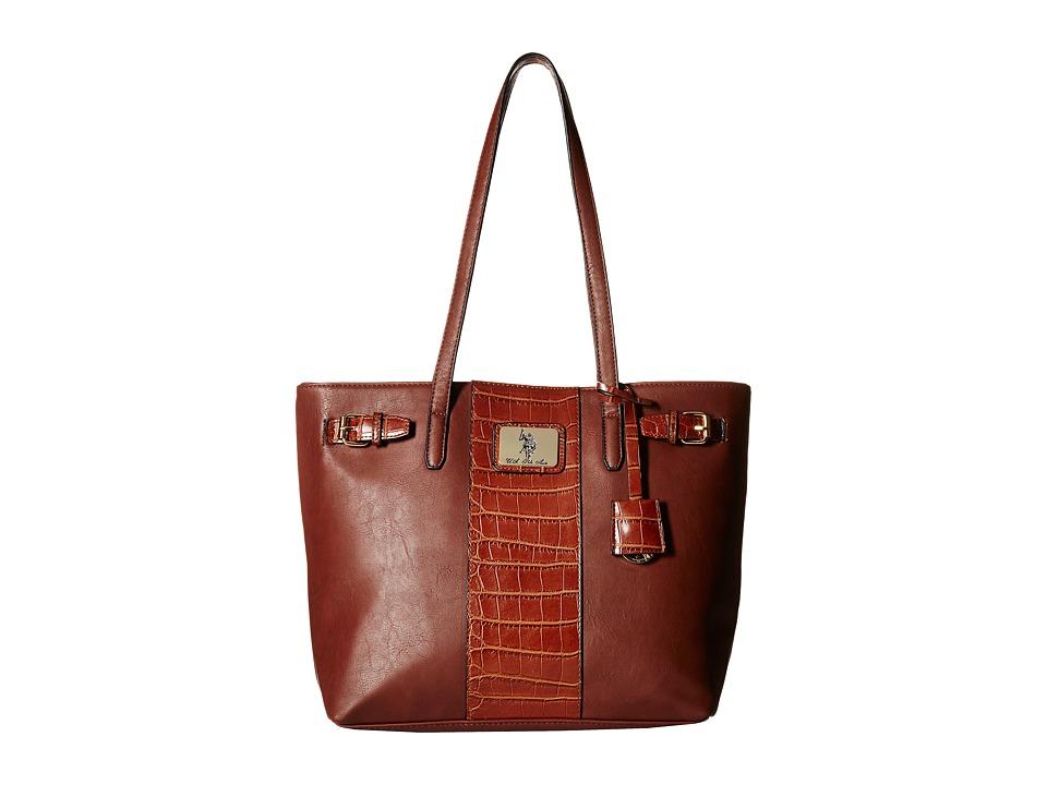 U.S. POLO ASSN. - Dillon Classic Saddle Tote (Chocolate) Tote Handbags