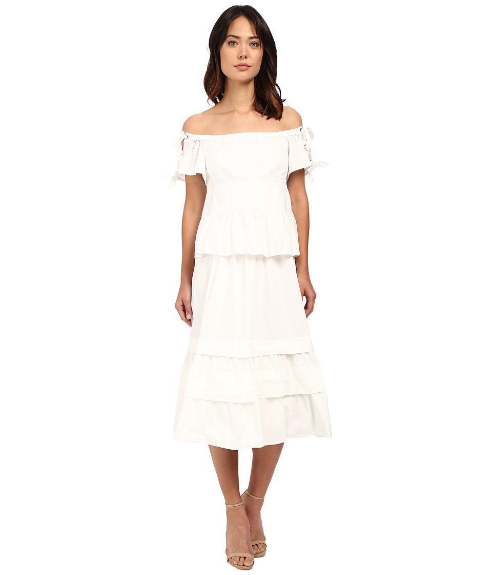 Rebecca Taylor Off Shoulder Cotton Poplin Dress (Snow) Women
