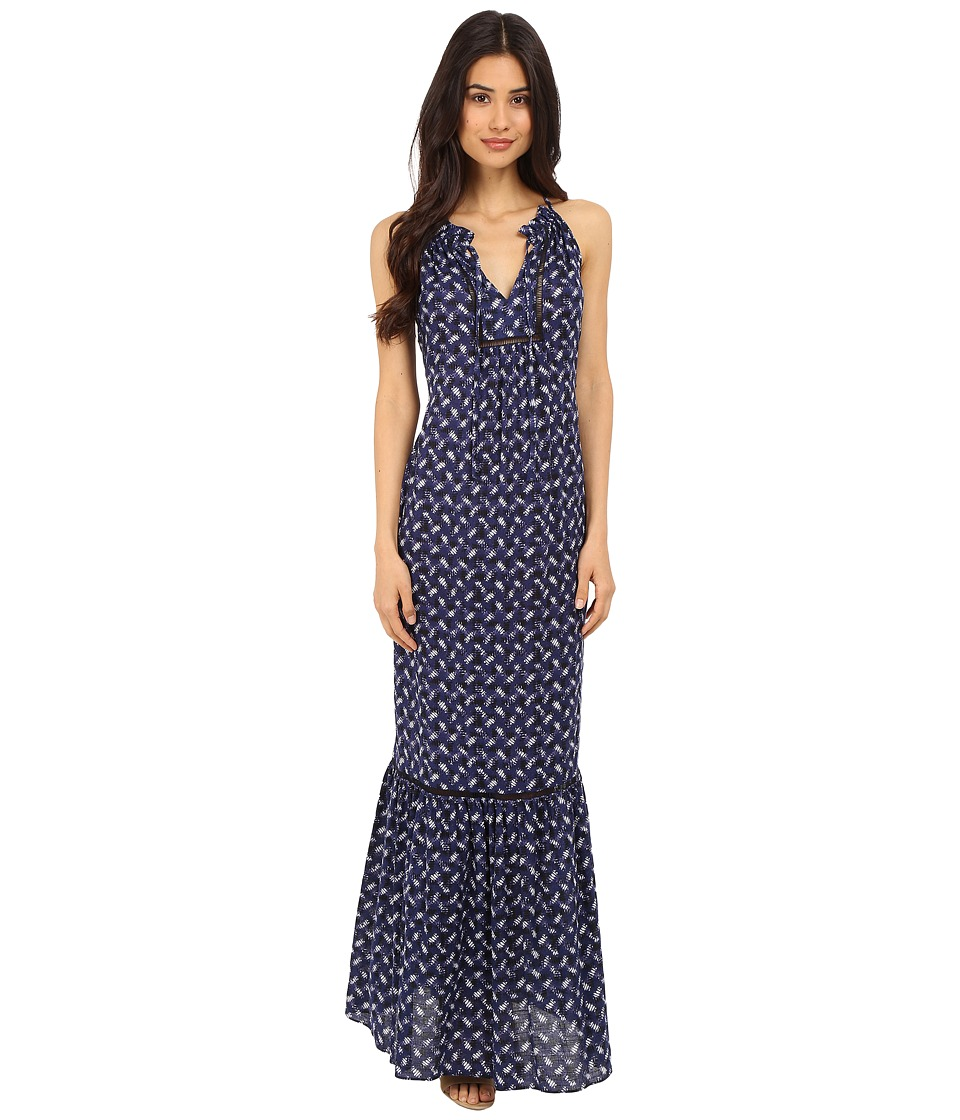 Rebecca Taylor - Sleeveless Crisscross Maxi Dress (Indigo Combo) Women's Dress