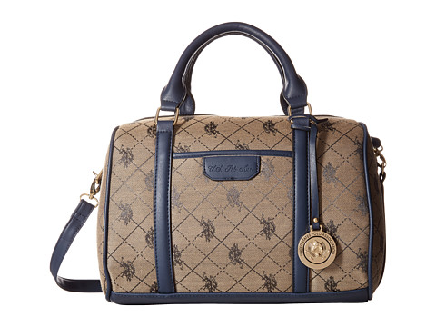 U.S. POLO ASSN. - Fulton Logo Jacquard Satchel (Navy) Satchel Handbags