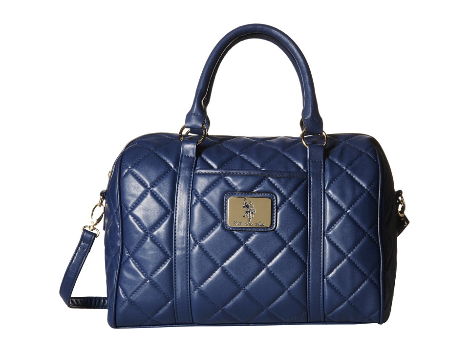 U.S. POLO ASSN. - Alex Quilted Satchel with Logo Patch (Navy) Satchel Handbags