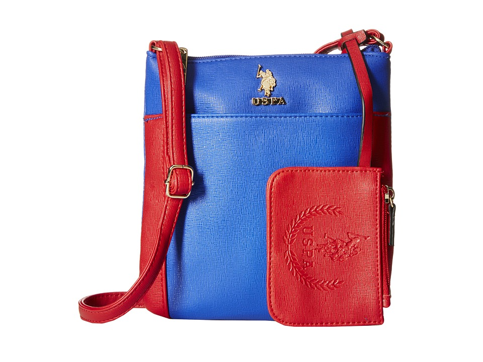 U.S. POLO ASSN. - Greenwich Color Block Mixed Media Shoulder Bag (Navy/Red) Cross Body Handbags