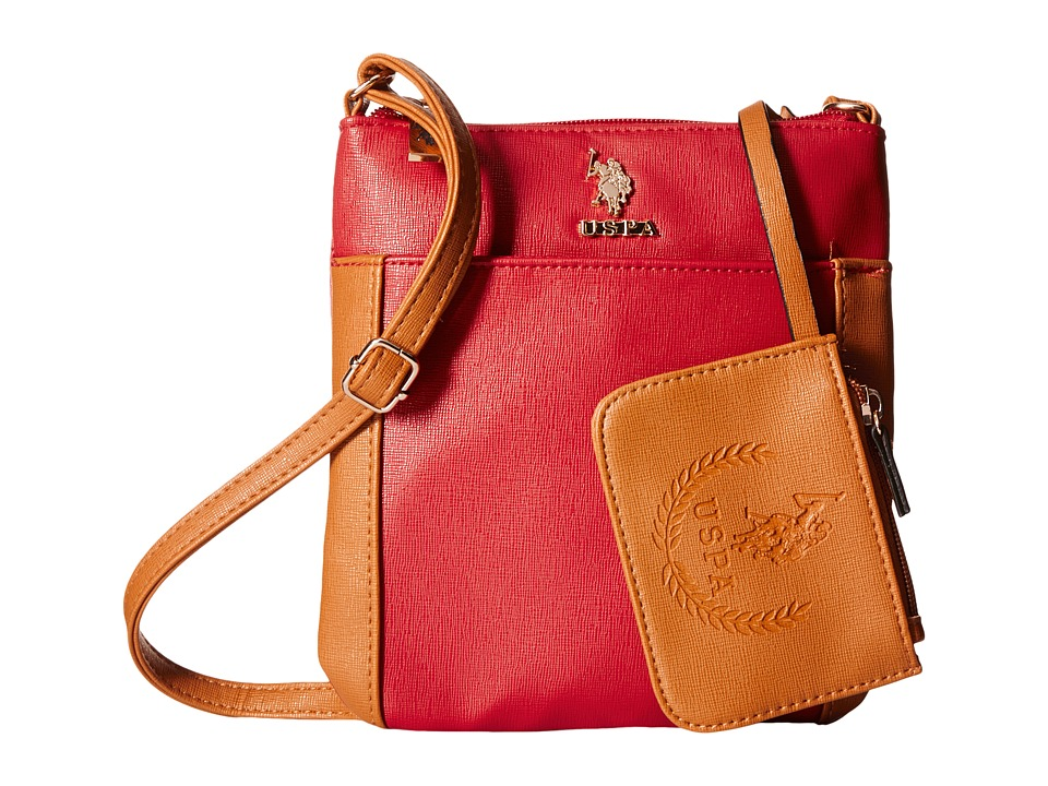 U.S. POLO ASSN. - Greenwich Color Block Mixed Media Shoulder Bag (Red/Cognac) Cross Body Handbags