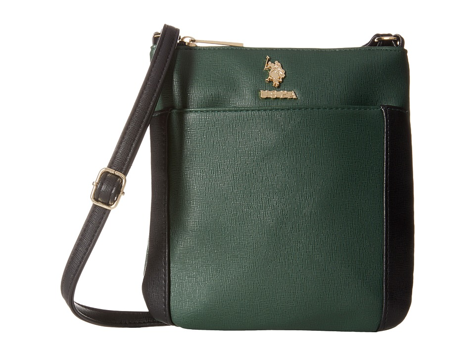 U.S. POLO ASSN. - Greenwich Color Block Mixed Media Shoulder Bag (Hunter Green/Black) Cross Body Handbags