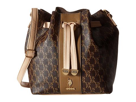 U.S. POLO ASSN. - Morrison Monogram Drawstring Bag (Brown/Sand) Cross Body Handbags