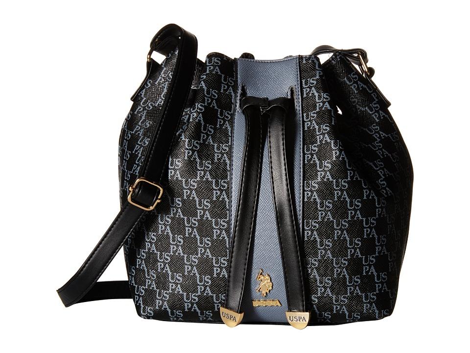 U.S. POLO ASSN. - Morrison Monogram Drawstring Bag (Black/Charcoal) Cross Body Handbags